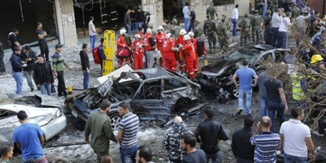 من مخلفات الهجوم على احد أحياء بيروت