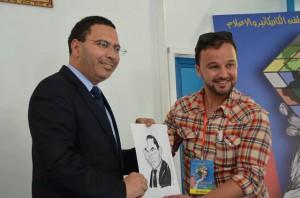 الفنان محمد الخو مع مصطفى الخلفي، وزير الاتصال