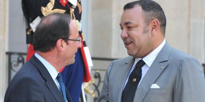 الملك محمد السادس والرئيس فرانسوا هولاند، في أحد اللقاءات السابقة.
