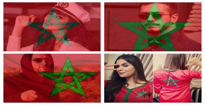 بالصور..فنانون مغاربة يلتحفون الراية المغربية