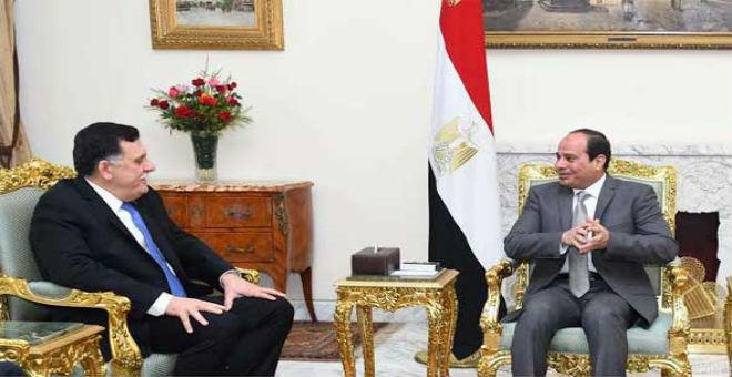 السيسي يستقبل رئيس حكومة الوفاق الليبية في القاهرة