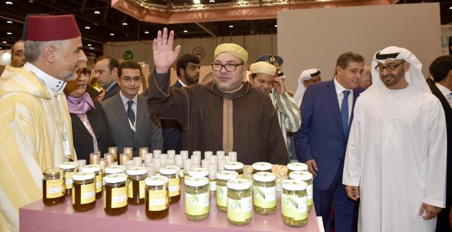 الملك يزور الجناح المغربي بالمعرض الدولي للتغذية بالشرق الأوسط بأ بو ظبي