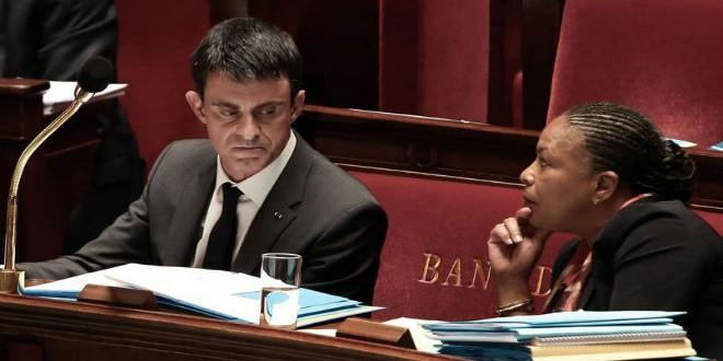 رئيس الوزراء الفرنسي مانويل فالس ووزيرة العدل  كريستيان توبيرا