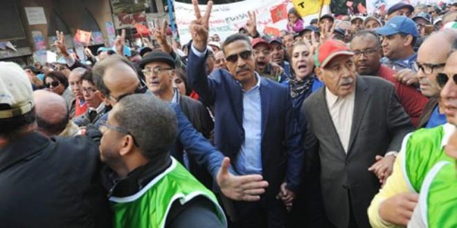 مسيرة النقابات المركزيات في مدينة الدار البيضاء.
