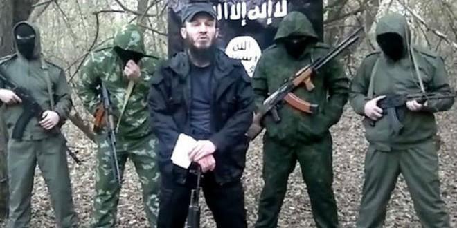 """مقاتلون من داغستان أثناء بيعتهم لزعيم """"داعش"""" (أرشيف)"""