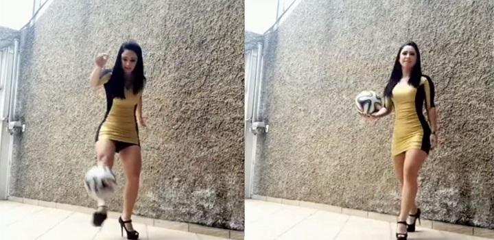 فيديو: مهارات رهيبة في كرة القدم لفتاة ترتدي الكعب العالي