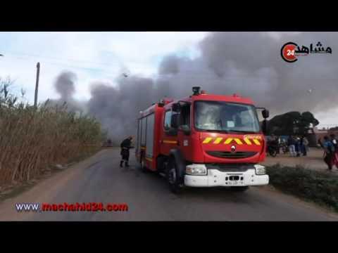 بالفيديو..هكذا التهمت النيران واحدا من أكبر المستودعات بالمحمدية