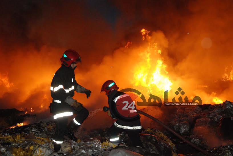 بالصور. حريق مهول يلتهم معملا لتذويب البلاستيك