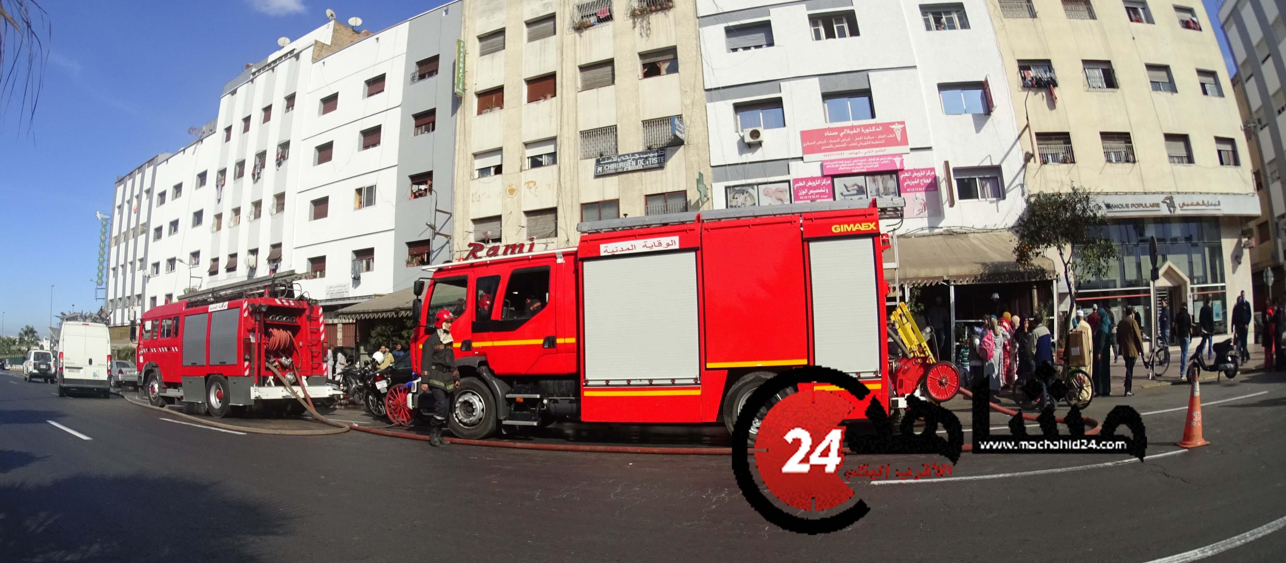 بالصور..حريق يتسبب في خسائر مادية كبيرة بالبيضاء
