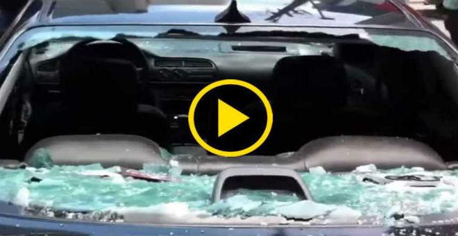 بالفيديو: برازيلية تحطم سيارة زوجها بسبب خيانته