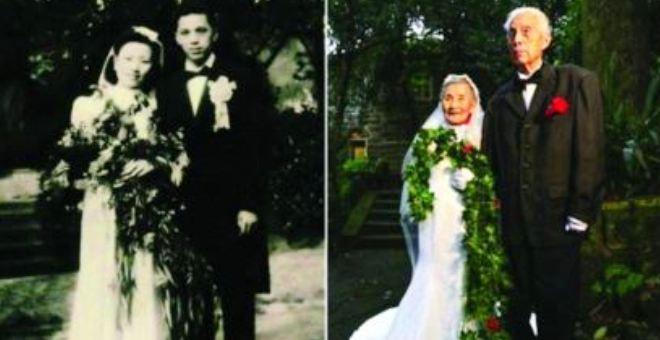يلتقطان صورة زفافهما بعد 70 عاماً