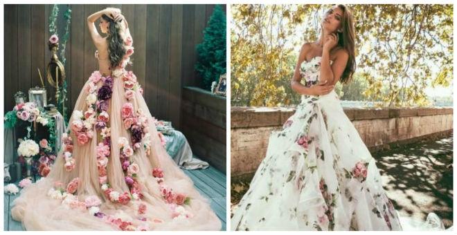 للجريئات فقط...فساتين زفاف بطبعات الورود