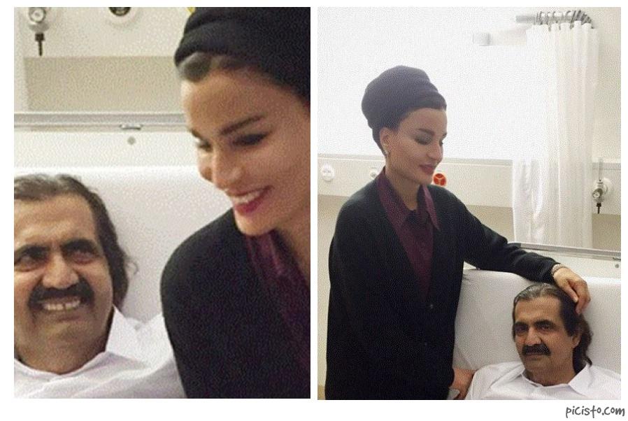 بالصور. الشيخة موزة تنشر صورا لها مع زوجها الشيخ حمد بعد الجراحة