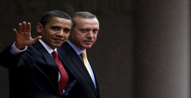 الرئيس الأمريكي باراك أوباما رفقة نظيره التركي رجب طيب أردوغان