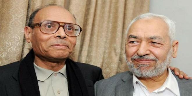 """زعيم """"النهضة"""" التونسية راشد الغنوشي رفقة الرئيس السابق المنصف المرزوقي"""