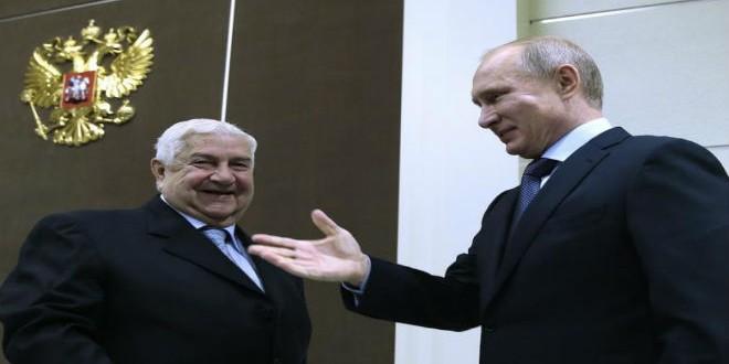 وزير الخارجية السوري وليد المعلم رفقة الرئيس الروسي فلاديمير بوتين