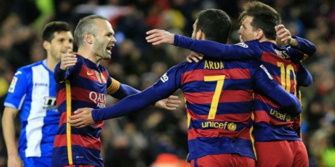 ميسي يقود برشلونة لسحق إسبانيول برباعية