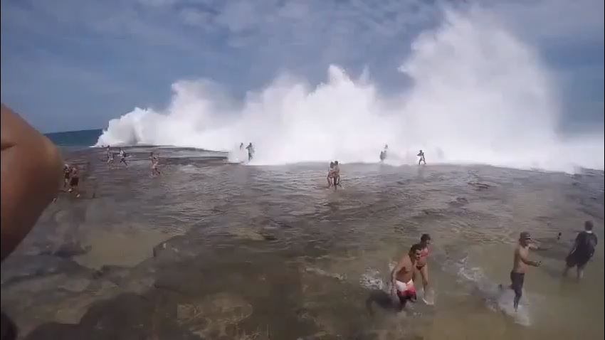 موجة ضخمة تجر كل المصطافين في طريقها بسيدني