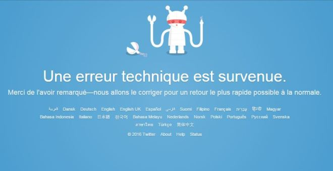 توقف موقع تويتر على جميع المنصات