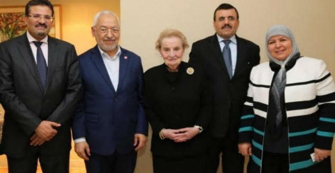 أولبرايت تنهي زيارتها لتونس بلقاء قادة