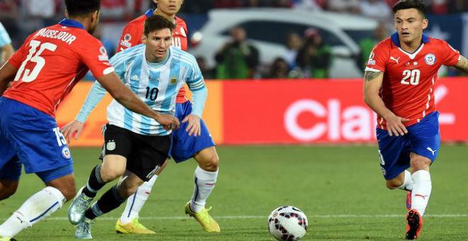 أهداف  مباراة الأرجنتين والشيلي