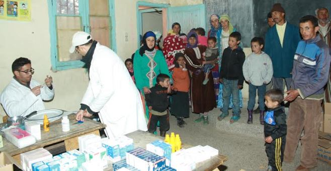قافلة طبية بإقليم الحوز على متن مروحية لوزارة الصحة المغربية