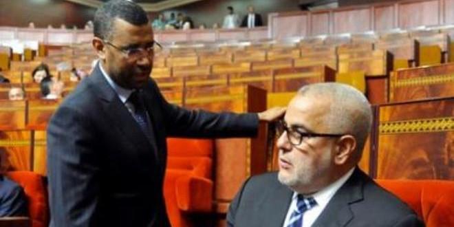 السيد عبد الله بوانو، رئيس فريق العدالة والتنمية، مع السيد عبد الإله بنكيران، رئيس الحكومة، في مجلس النواب.