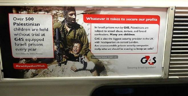 منشورات مناهضة للسياسة الإسرائيلية في مترو أنفاق لندن