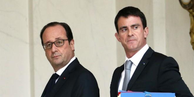 الرئيس الفرنسي فرانسوا هولاند رفقة رئيس وزرائه مانويل فالس