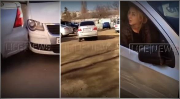 بالفيديو: امرأة تصدم وتتلف 17 سيارة
