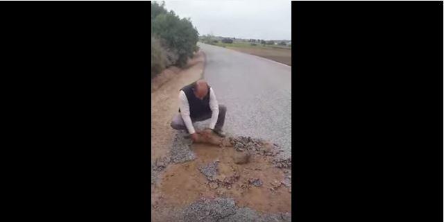 بالفيديو. بعد شاب آسفي.. رئيس جماعة يفضح غش تعبيد الطرق