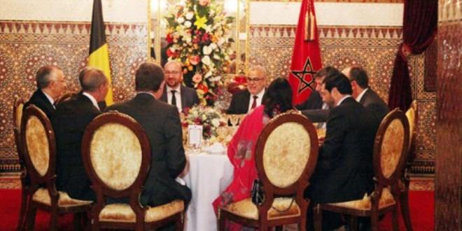 الوزير الأول البلجيكي ورئيس الحكومة المغربية، خلال مأدبة العشاء، التي أقامها الملك على شرف الضيف البلجيكي