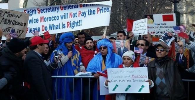 برلمانيات مغربيات تشاركن في وقفة احتجاجية  في نيويورك ضد تصريحات بان كي مون