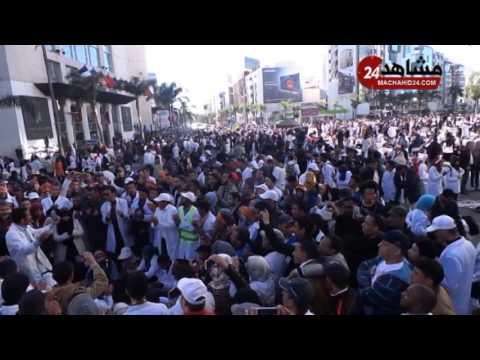 بالفيديو.. احتجاجات الأساتذة المتدربين أمام ''توين سانتر'' بالبيضاء