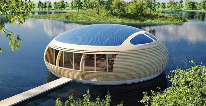 بالصور.. مبانٍ عائمة تعمل بالطاقة الشمسية