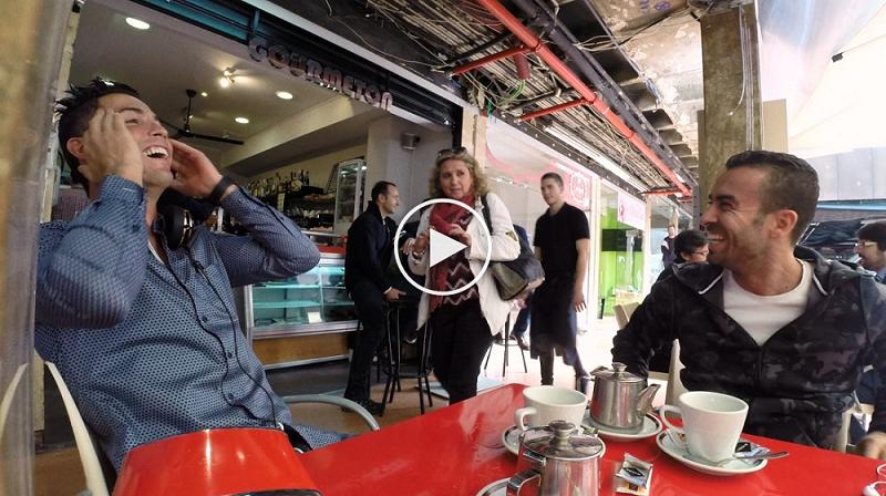 بالفيديو : هذا ما حصل لـكريستيانو رونالدو حينما جلس في فضاء عمومي بدون حراس