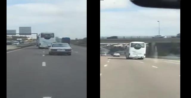 فيديو : سائق حافلة يغامر بحياته وحياة الركاب على الطريق السريع