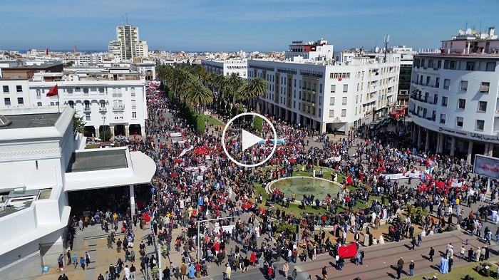 كاميرا مثبتة بطائرة '' Drone '' تلتقط فيديو شامل للمسيرة المليونية بالرباط