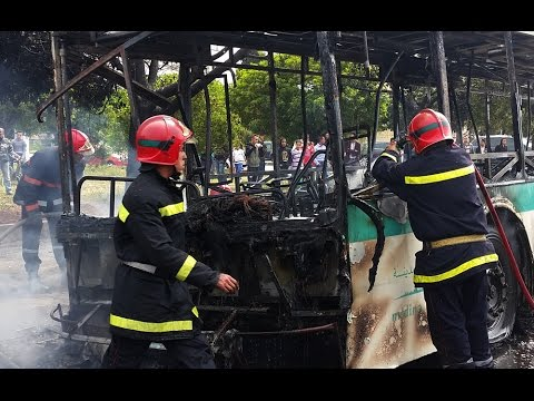 بالفيديو.. حافلة ''مدينة بيس'' تتعرض لحريق غير مسبوق