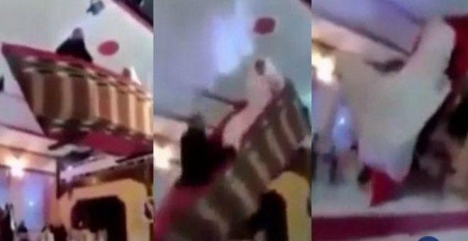 بالفيديو.. عروسان يدخلان قاعة الزفاف بقارب طائر.. فكانت المفاجأة!