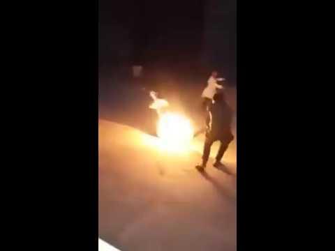 فيديو .. سيدة تضرم النار في نفسها بالقنيطرة