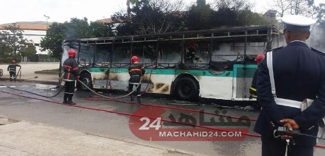 النيران تلتهم حافلة