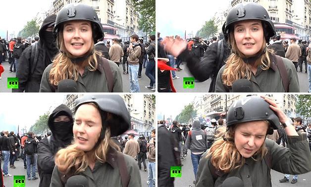 صفع مذيعة تلفزيون أثناء تغطيتها مظاهرات باريس