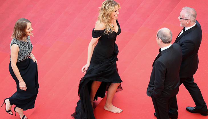 """CANNES, FRANCE - MAY 12:  Producer Jodie Foster and actress Julia Roberts attend the """"Money Monster"""" premiere during the 69th annual Cannes Film Festival at the Palais des Festivals on May 12, 2016 in Cannes, France.  (Photo by Andreas Rentz/Getty Images)"""
