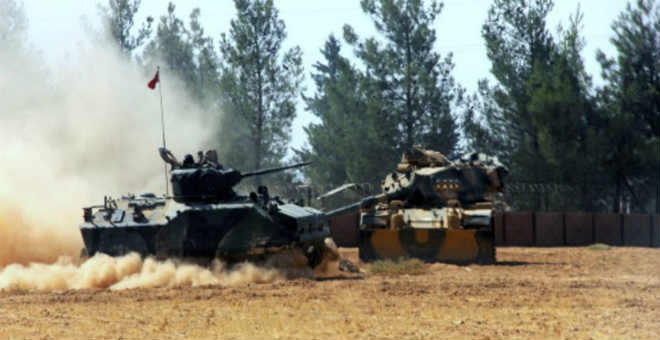 دبابات تركيا تدخل التراب السوري بدعم من طيران التحالف لطرد مسلحي
