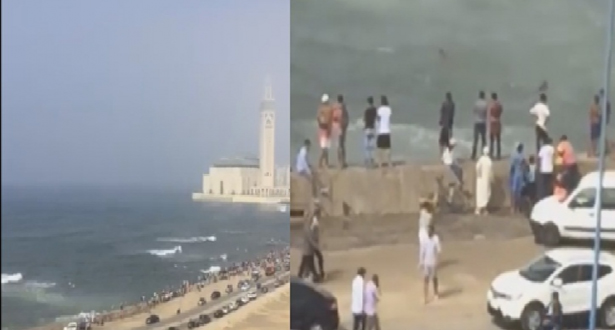 فيديو.. حادث غرق قرب مسجد الحسن الثاني