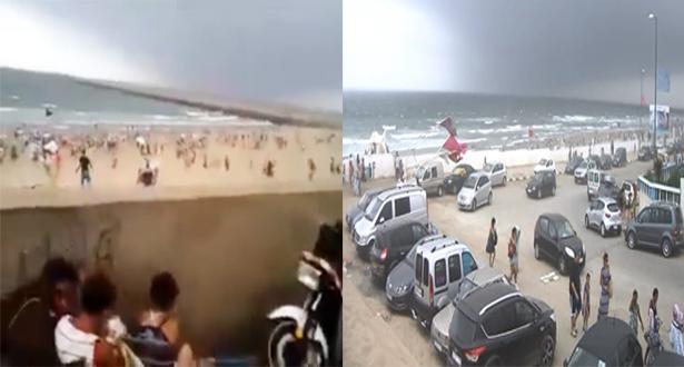 بالفيديو.. عاصفة رملية قوية ترعب المصطافين بشاطئ المهدية