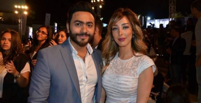 بسمة بوسيل تفاجئ زوجها تامر حسني باحتفالية عيد ميلاده