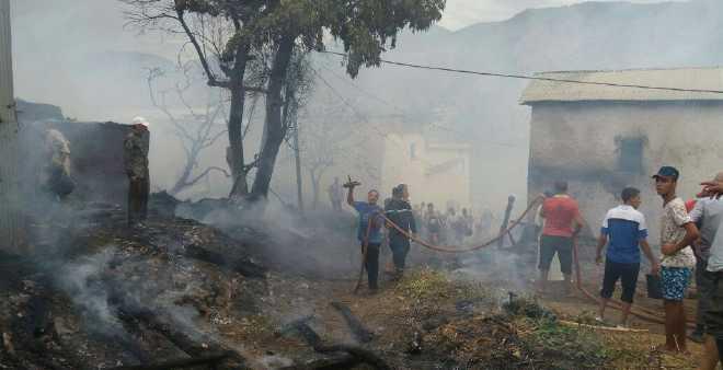 بالفيديو. حريق مهول يأتي على دوار في إقليم تاونات