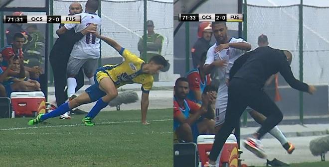 اصطدام قوي للاعب أولمبيك أسفي مع المدرب وليد الركراكي وردة فعله !